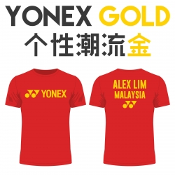 Yonex shirt - Yonex Gold, Red (custom print)