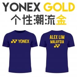 Yonex shirt - Yonex Gold, Navy (custom print)