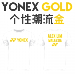 Yonex shirt - Yonex Gold, black (custom print)