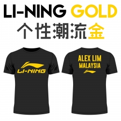 Li-Ning shirt - Li-Ning Gold, Black (custom print)