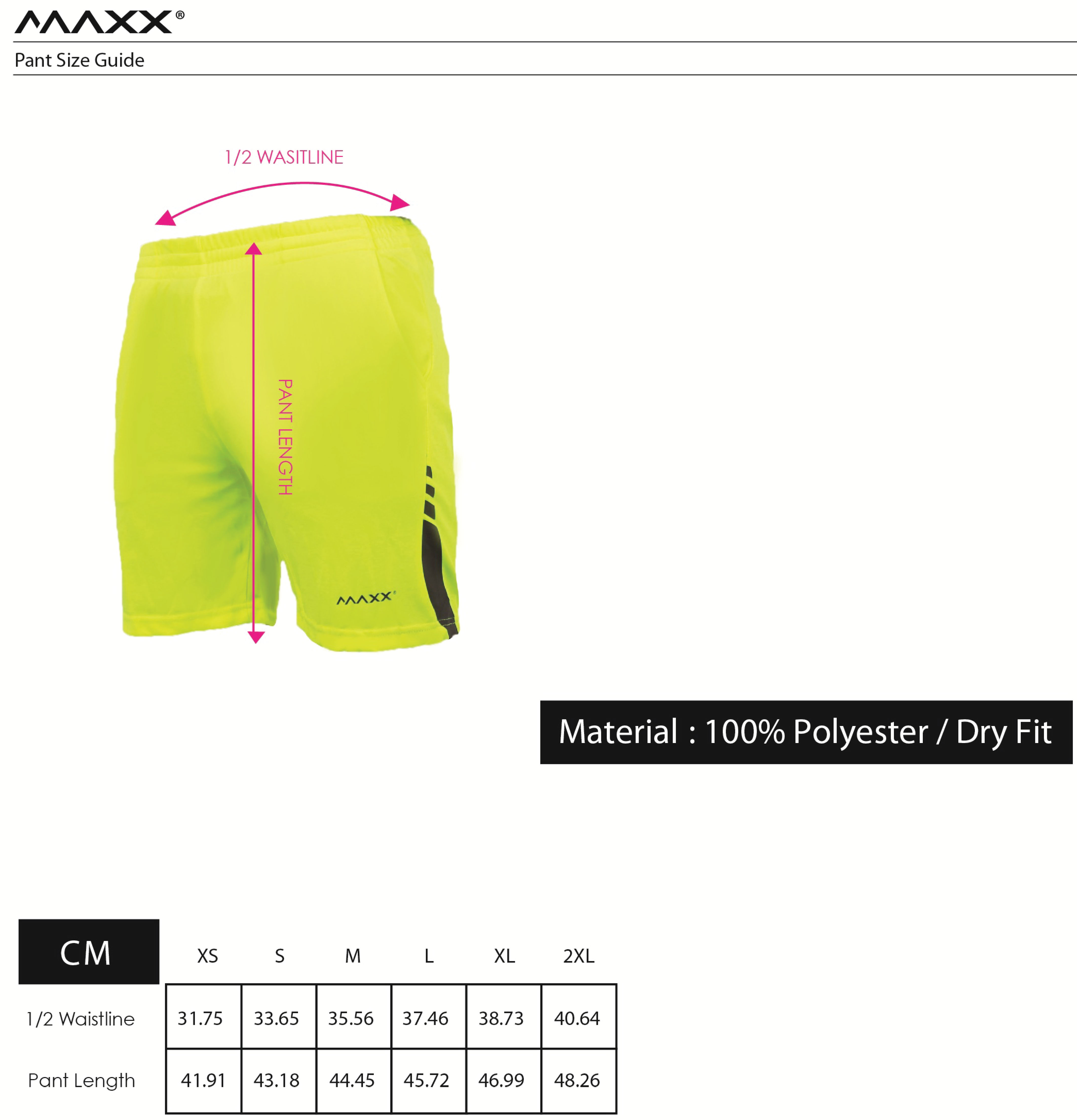 MAXX Pant Size Guide