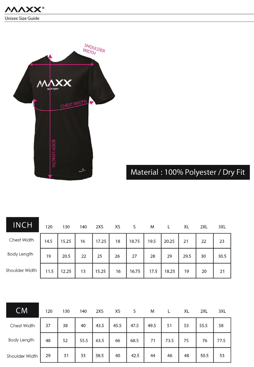 maxx shirt size guide