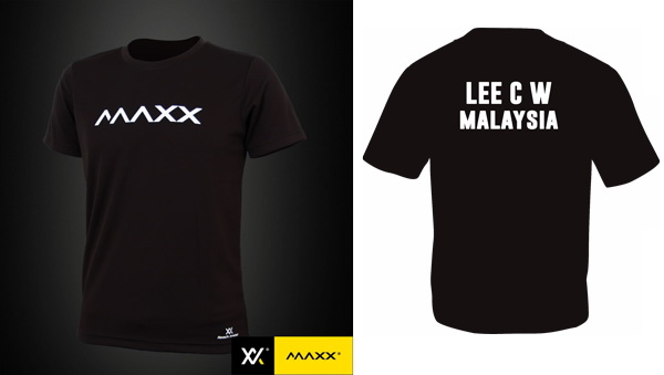 MAXX Plain Tee Shirt printing with name and team (black)