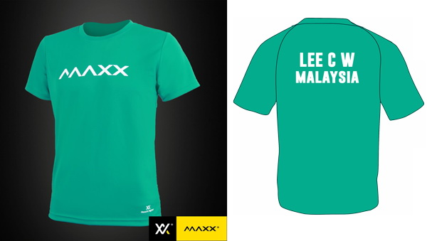 MAXX Plain Tee Shirt printing with name and team (green)