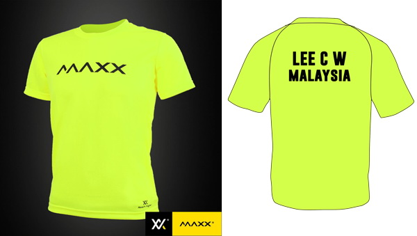 MAXX Plain Tee Shirt printing with name and team (highlight green)
