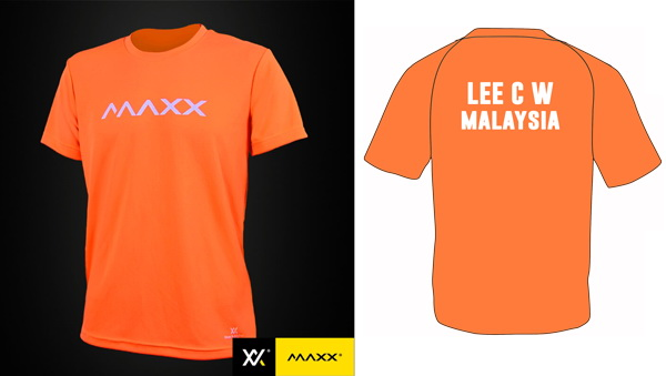 MAXX Plain Tee Shirt printing with name and team (highlight orange)