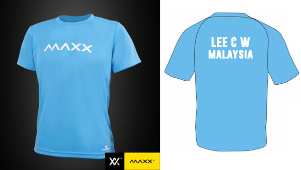MAXX Plain Tee Shirt printing with name and team (light blue)