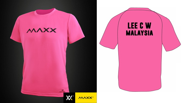 MAXX Plain Tee Shirt printing with name and team (pink)