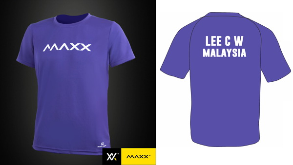 MAXX Plain Tee Shirt printing with name and team (purple)