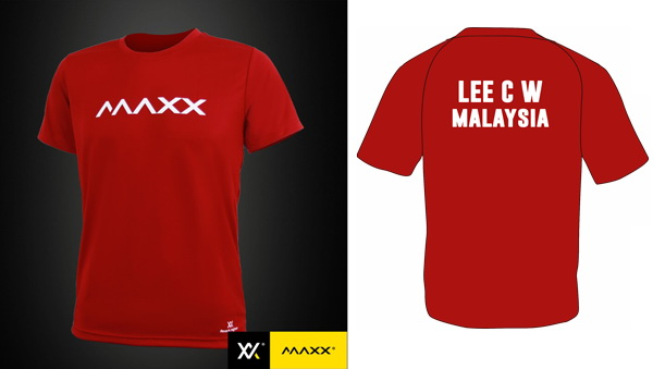 MAXX Plain Tee Shirt printing with name and team (wine red)