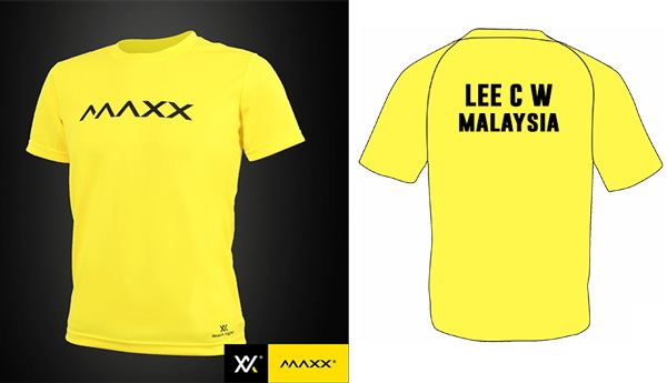 MAXX Plain Tee Shirt printing with name and team (yellow)
