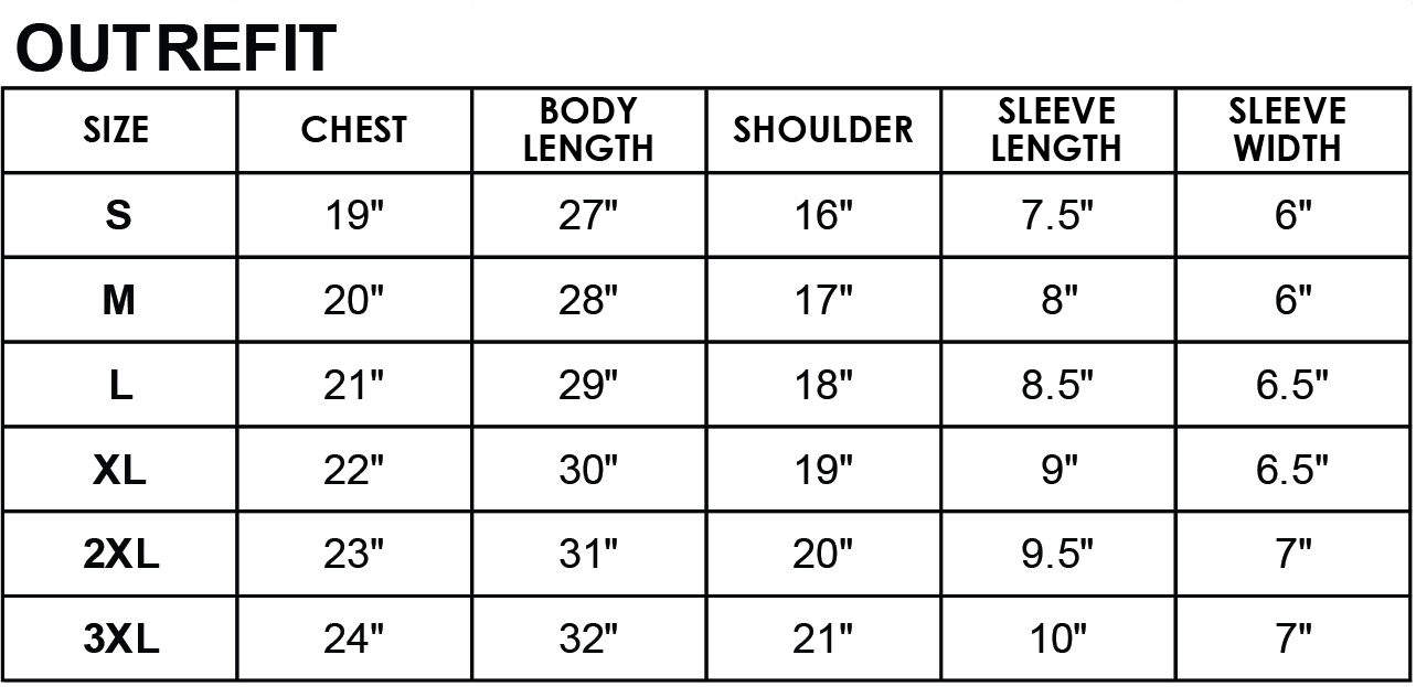 Rightway shirt Outrefit size chart